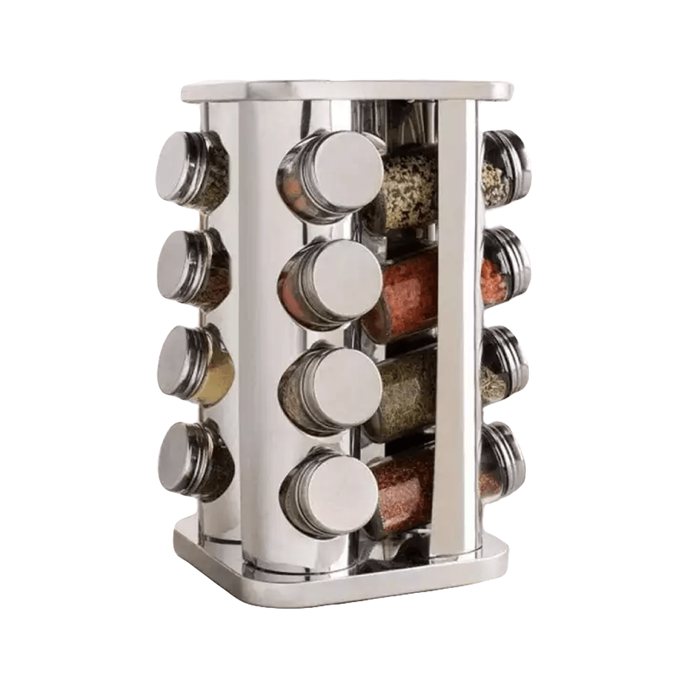 Stainless Steel Spice Rack - 16 Jars | E-valy Limited - Online shopping mall