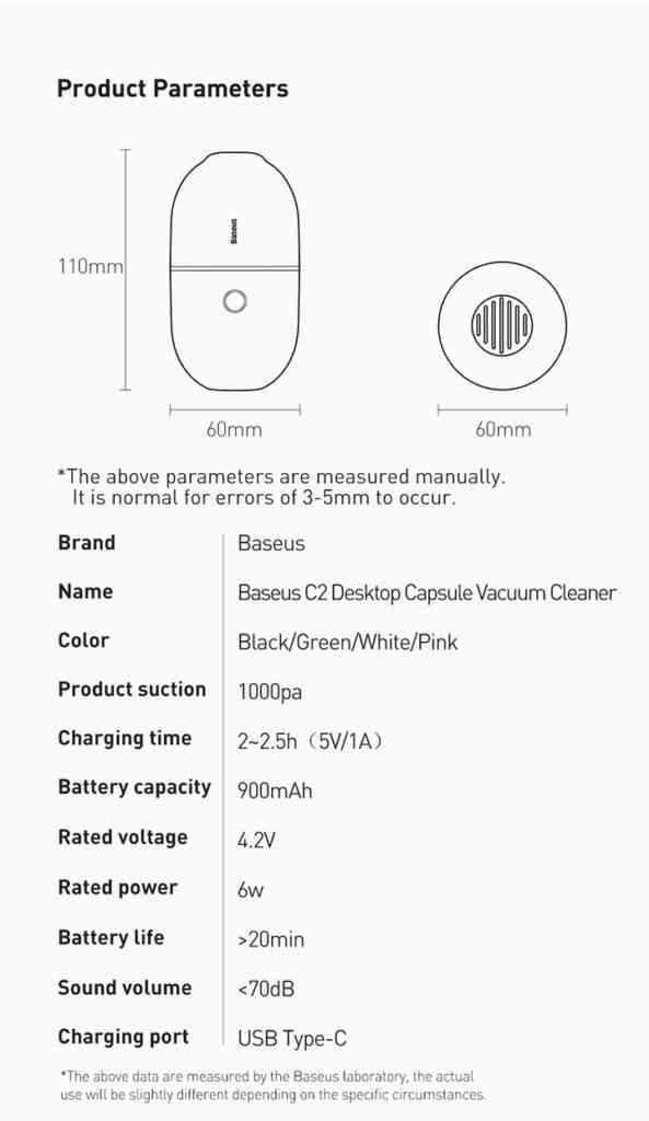 Mini Vacuum Cleaner Specifications