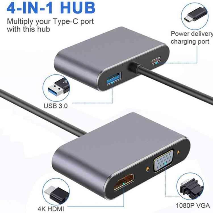 USB C to HUB PD HDMI VGA Adapter 4K 4-in-1