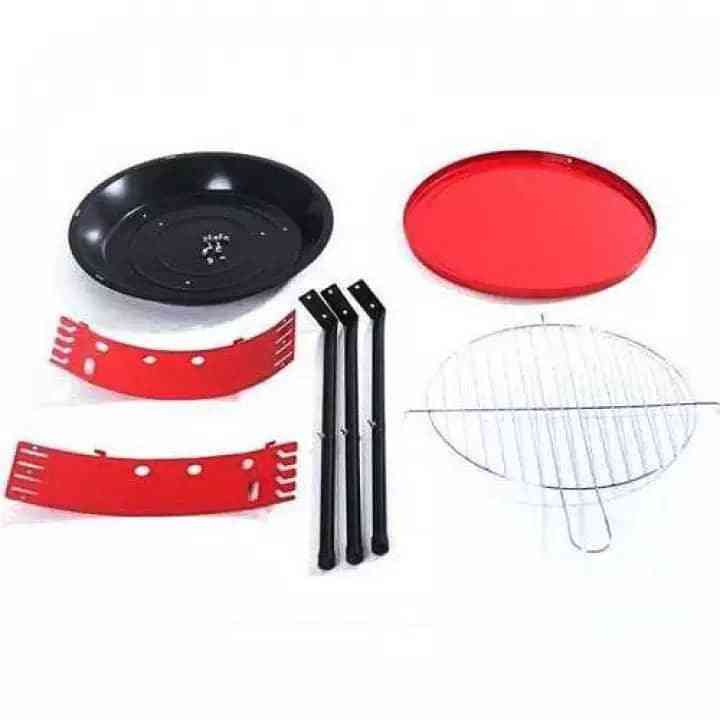 BBQ Grill 36cm Stove Pan Standing Easy Round Red Charcoal Home Cook Barbeque Outdoor Pemanggang   Shopee Malaysia